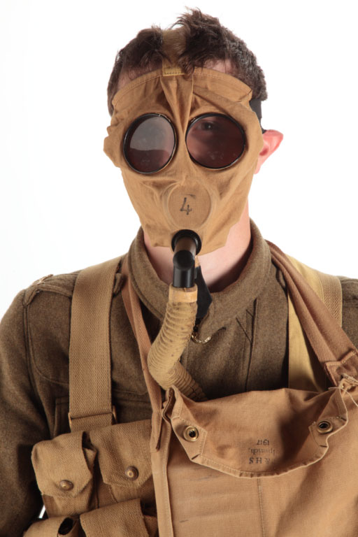 Dave Clarke modelling as soldier from First World War wearing gas mask