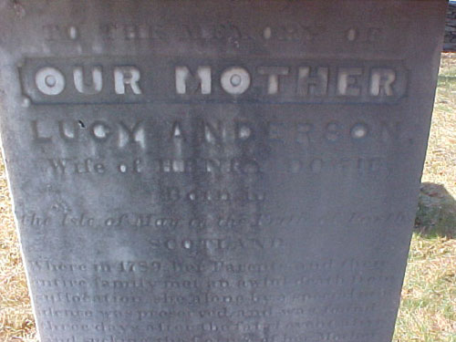 Inscription on the grave of Lucy Anderson Dowie.