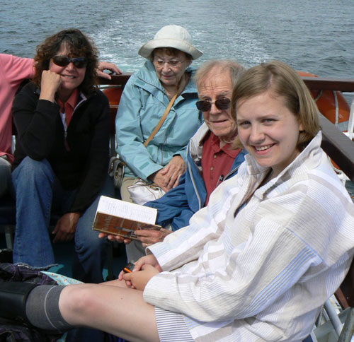 Three generations of descendants of Lucy Anderson returning from their day on the Isle of May – July 4, 2009. (l. to r.) Susan Ciccantelli, Dale and Roger Acker, Allison Bohr. Photo courtesy of James Allan, who also kindly flew me over the island on my second visit in 2003.