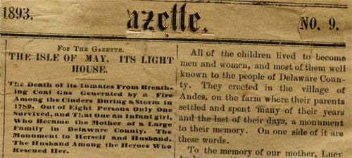 Article about Lucy and the Isle of May in the Andes Gazette, 1893