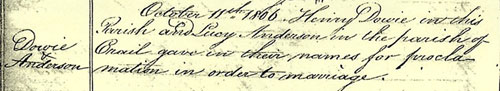 Old Parochial Register, Edinburgh, showing marriage of Lucy Anderson and Henry Dowie