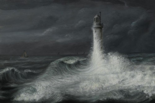 Oil painting of the Bell Rock Lighthouse by A MacDonald of Arbroath