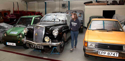 Admiring the cars at the National Museums Collection Centre