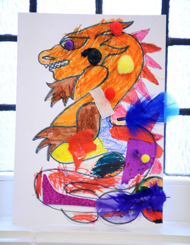 A dragon created by families at Macdonald Road Library