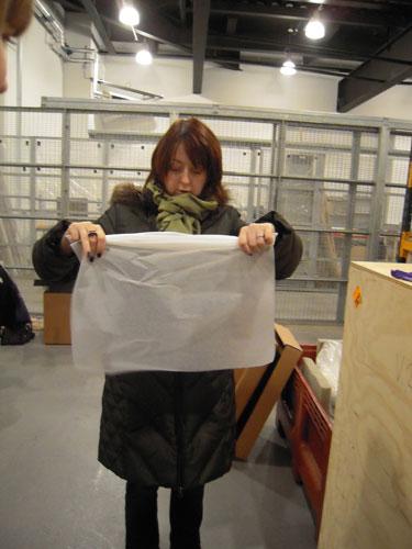 Isabel creates a tissue sausage