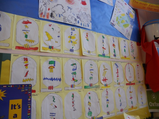 Hieroglyphics wall by Primary 3, Haddington Infants School