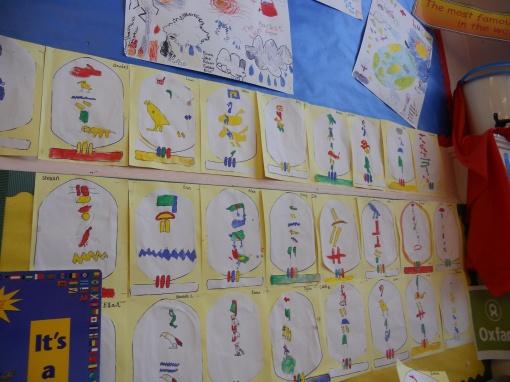 Hieroglyphics wall by Primary 3, Haddington Infants School
