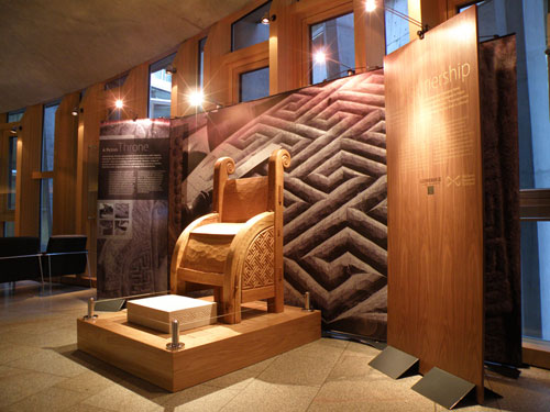 The Pictish throne on display at the Scottish Parliament