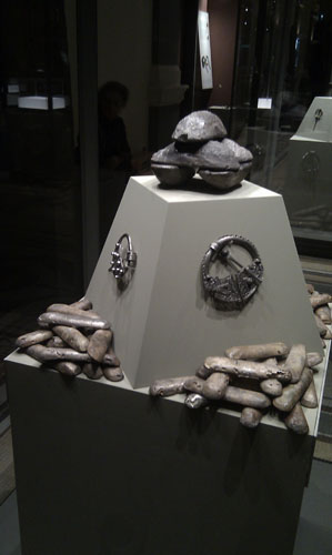 Silver brooches and ingots in the Treasury exhibition at National Museum of Ireland
