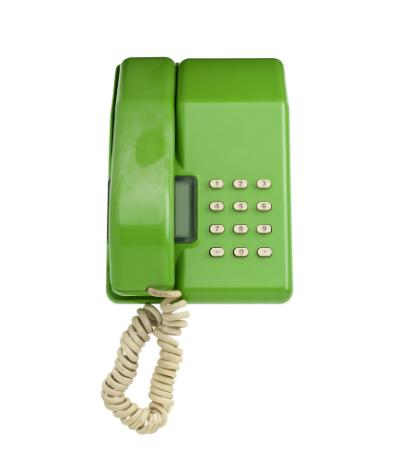 'Viscount' desk top telephone of lime green plastic, with white plastic pushbuttons, made by STC for British Telecom, 1983.
