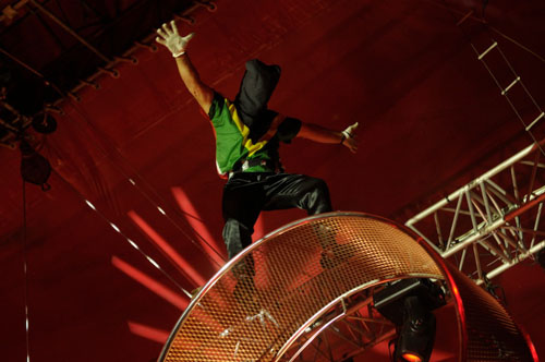 On top of the Vander Space Wheel during a performance