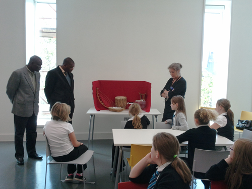 Mike, Lovemore and Sarah drop into a schools session in the Learning Centre at the National Museum of Scotland