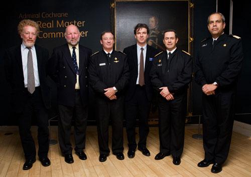 (left to right): Dr Tristram Clarke, National Records of Scotland, Commodore Rob Thompson RN, Commodore José Miguel Rivera, Dr Stuart Allan, Admiral Edmundo Gonzalez, Captain Ronald McIntyre.