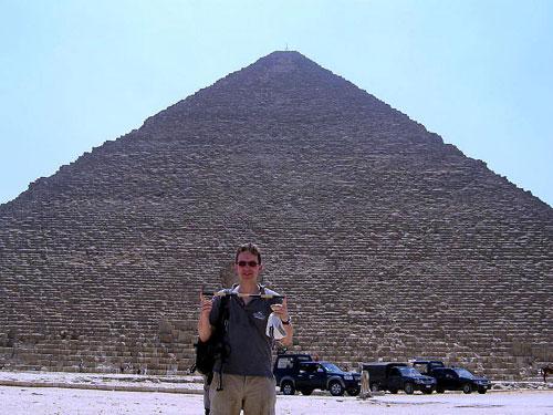 David in front of the Great Pyramid at Giza