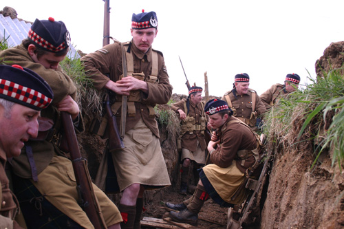 First World War Gordon Highlanders at ease in the trenches