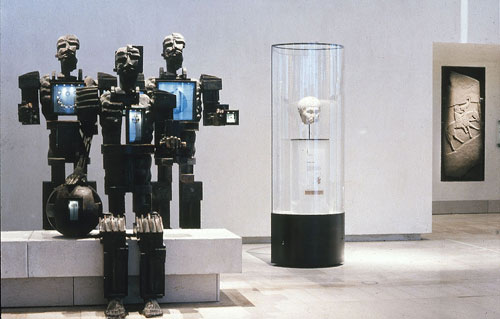 Paolozzi figures representing the theme of 'Them and us'