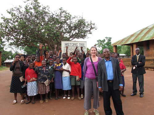 Sarah with staff and pupils from Mbame School