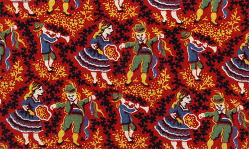 Pattern featuring dancers and musicians