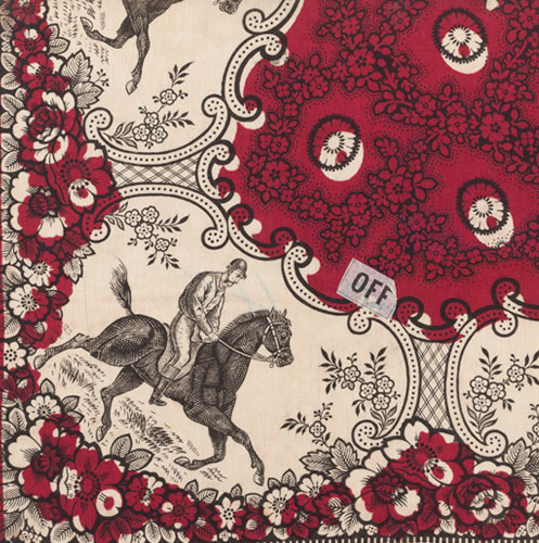 Turkey red pattern with a horse and rider