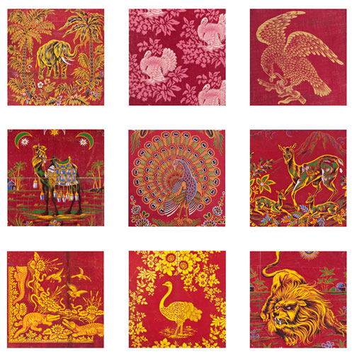 Turkey red patterns featuring animals and birds