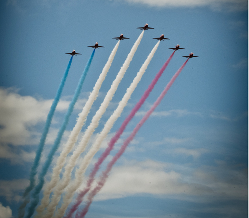 Red Arrows in battle formation arriving at the Airshow at National Museum of Flight, East Fortune on Sat 28 July 2012