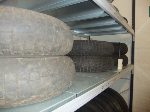 Aircraft tyres in the 'rubber room' at National Museum of Flight