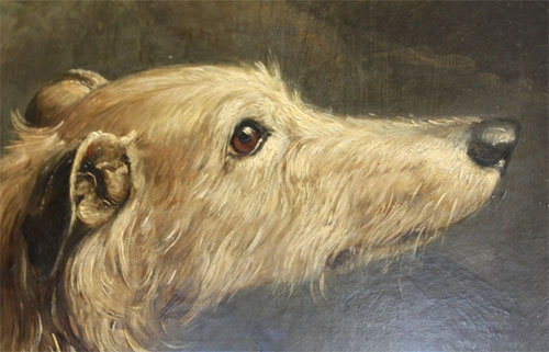 William Shiels, Group of Scotch Dogs (detail), Collie from Tweedale, Scotch Deerhound, Otter Terrier, and Scots Terrier, 1842-43. Shiels was paid £20 for this painting on 22 April 1843.