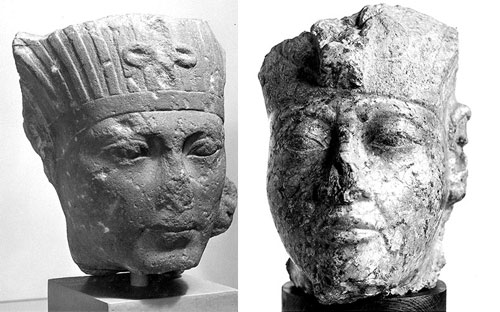 Granite head that may represent Tutankhamun, on display in the Ancient Egypt gallery at National Museum of Scotland