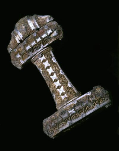 Viking sword hilt on display in the Early People gallery in National Museum of Scotland