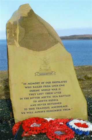 Arctic Convoys memorial at Loch Ewe in the Highlands of Scotland