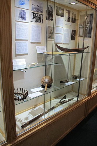 Display of Northwest Coast material and a leister John Rae made himself to demonstrate his lectures