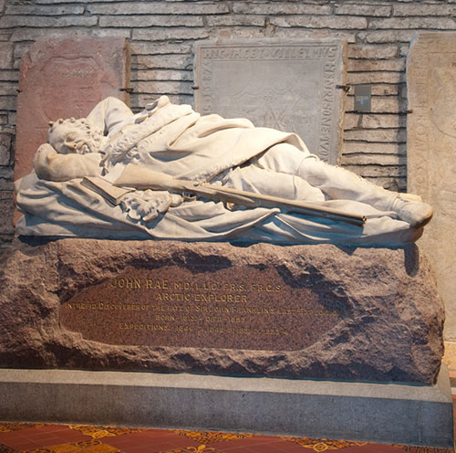 Memorial to John Rae in St Magnus Cathedral, Kirkwall