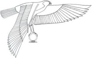 Typical arrangement of the royal god Horus with shen ring often seen flying above the pharaoh