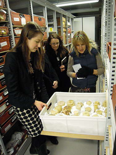 Curator Margaret Maitland showing some of the group objects in store