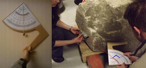 Measuring the angle of the casing stone slope
