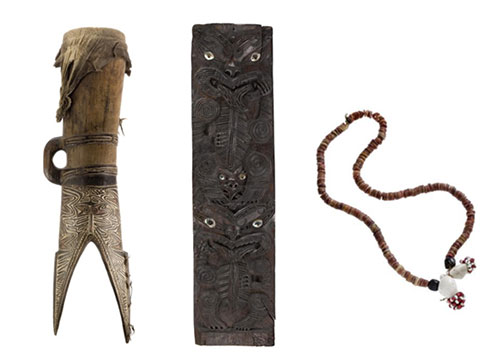 Pacific material from National Museums Scotland's collection (L-R): Drum from the Papuan Gulf, Papua New Guinea, 19th century; Rectangular wooden house panel, Ngati Porou Territory, New Zealand, c. 1870; Bride's shell necklace, Papua New Guinea, 20th century.