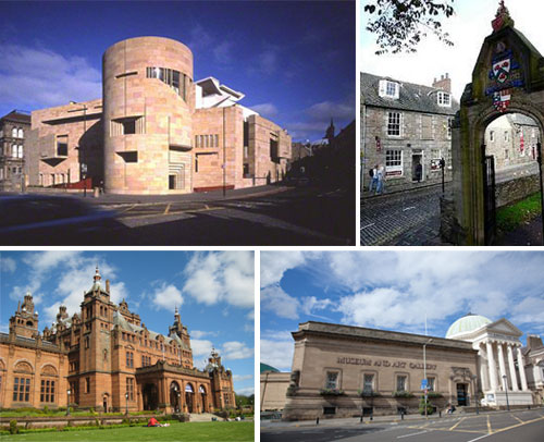 The four core project partners (clockwise from top left): National Museums Scotland, Aberdeen University Museum, Perth Museum & Art Gallery and Glasgow Life
