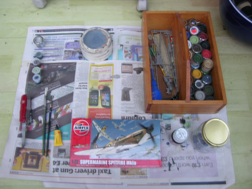 Sptfire Airfix model tools and paints