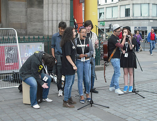 Busking on the Mound during Edinburgh Festival Fringe