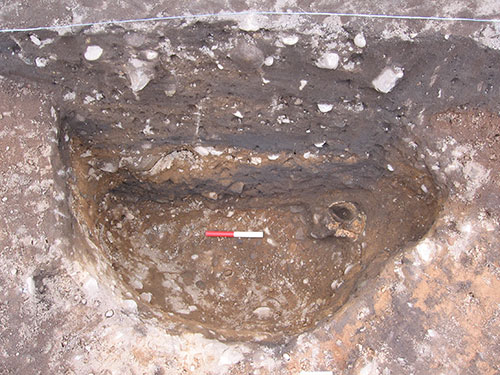 Pit with a human skull buried at the base.
