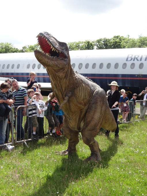 Tyrone the animatronic T-rex wowing the crowds at Robots Live!, National Museum of Flight, East Fortune on Sunday 16 June 2013