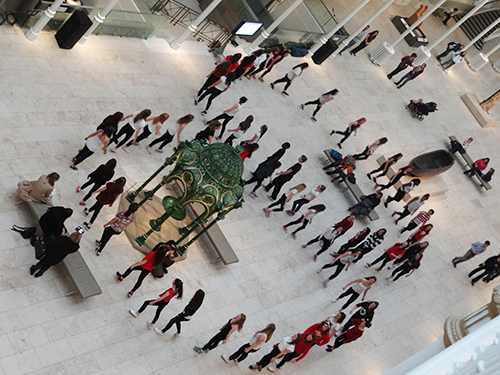Pupils gave a surprise dance performance in the Grand Gallery