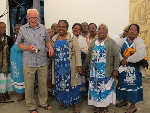 Douglas Hadfield, grandson of the missionaries, was guest of honour at the exhibition opening in New Caledonia
