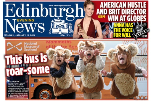 Edinburgh Evening News front page featuring Morag, Alexander and Jessica with the Murdo the Mammoth bus,