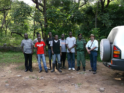 Phil Howard and students in Liwonde National Park