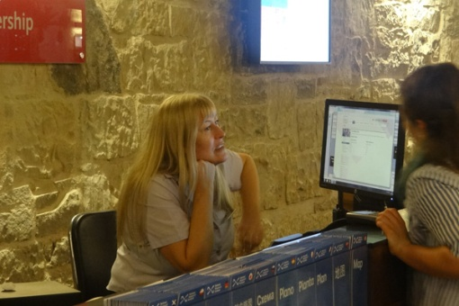 Jenny at the Info Desk, National Museum of Scotland