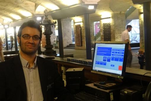 Jonny at Info Desk, Entrance Hall at National Museum of Scotland