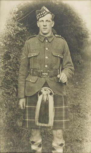 Family photograph of Private George Buchanan in uniform