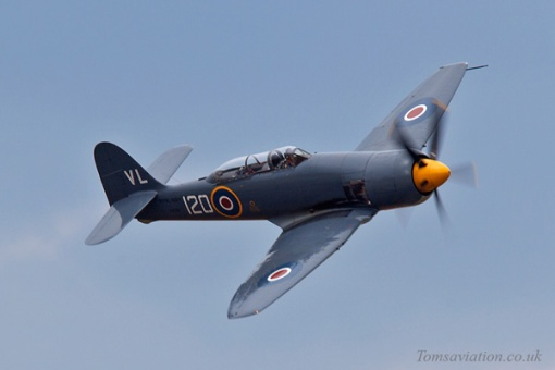 Royal Navy Sea Fury at Scotland's National Airshow in July 2013
