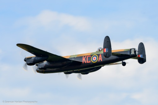 Avro Lancaster from RAF Battle of Britain Memorial Flight at Scotland's National Airshow on Saturday 26 July 2014. © Spencer Harbar